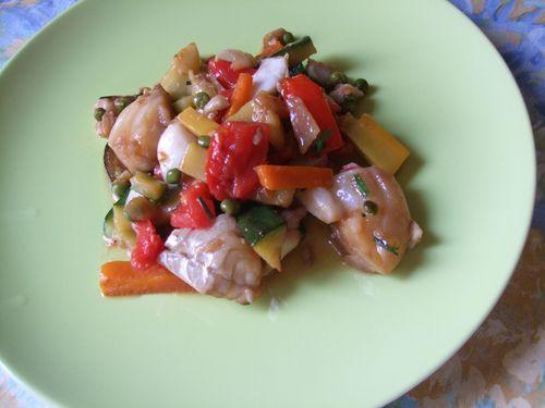 Poisson et légumes au wok